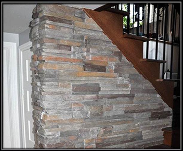 pierres artificielles dans la descente d escalier. Black Bedroom Furniture Sets. Home Design Ideas