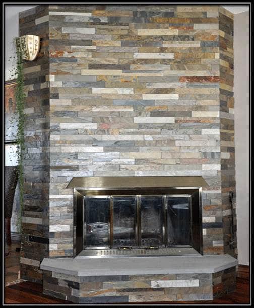 Ardoise sur foyer au bois for Foyer exterieur montreal